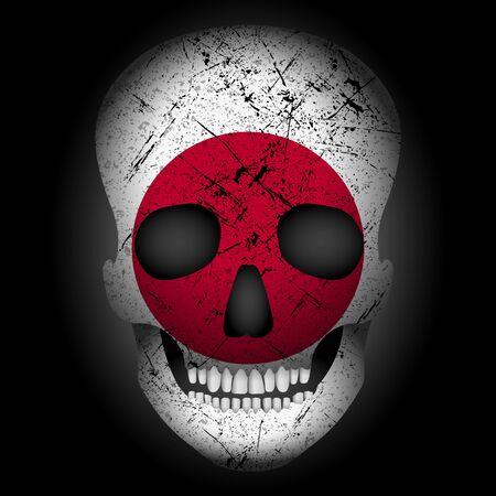 Skull flag Japan on a black background. Vector illustration. Ilustração