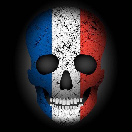 Skull flag France on a black background. Vector illustration. Çizim