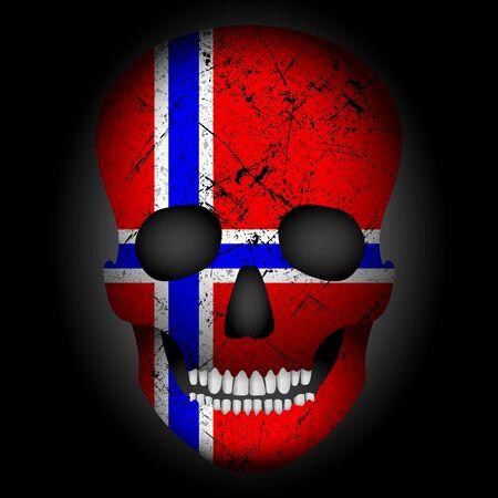 Skull flag Norway on a black background. Vector illustration.