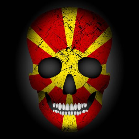 Skull flag North Macedonia on a black background. Vector illustration. Stock Illustratie