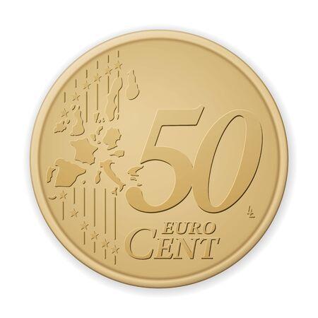Fünfzig Euro-Cent auf weißem Hintergrund. Vektor-Illustration. Vektorgrafik