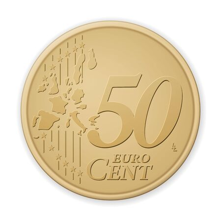 Fifty euro cent on a white background. Vector illustration.