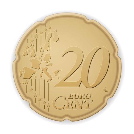 Twenty euro cent on a white background. Vector illustration.