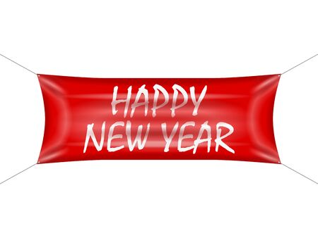 Banner happy new year on a white background. Foto de archivo - 132095908