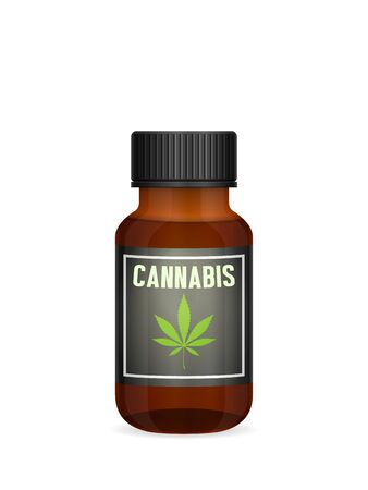 Medicinal cannabis bottle on a white background. Illustration
