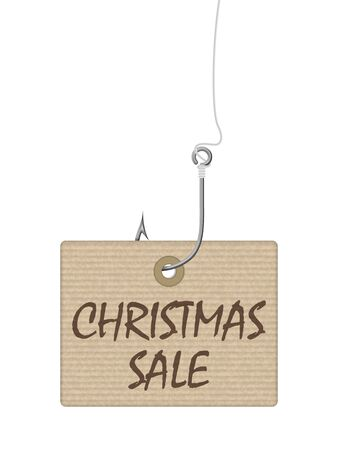 Christmas sale tag on a white background. Vector illustration.