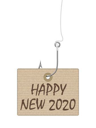 Happy new year tag on a white background. Vector illustration. Ilustracja