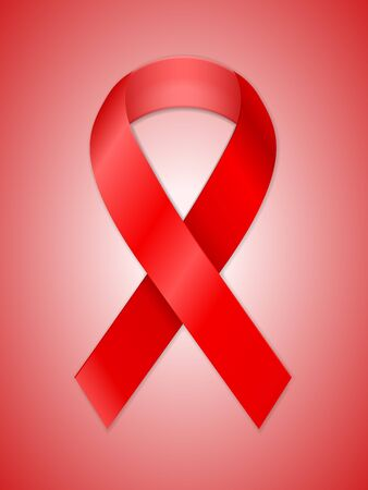 Aids ribbon on a red background. Vector illustration.