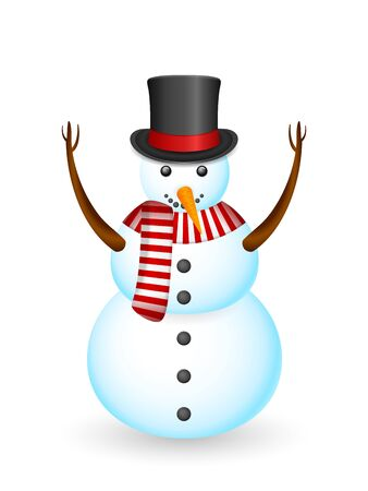 Snowman on a white background. Vector illustration.