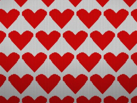 Knitted pattern background with hearts. Vector illustration.