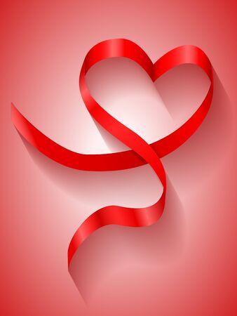 Heart ribbon on red backround. Vector illustration.