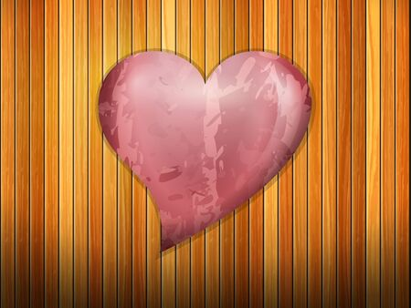 Red heart on background formed by wooden planks.