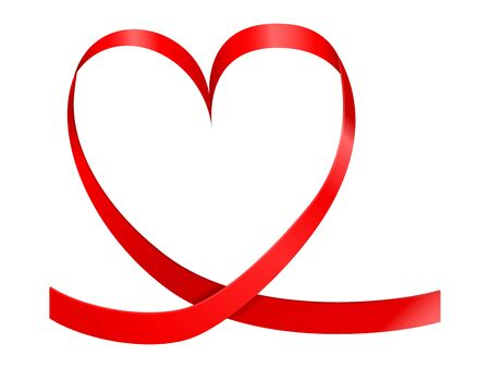 Heart ribbon on a white background. Vector illustration.