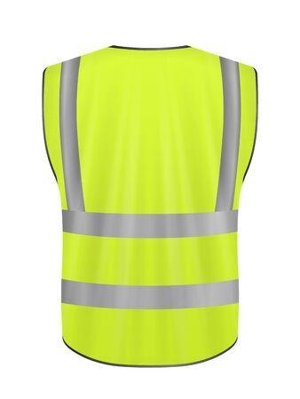 Safety vest back on a white background. Vector illustration.