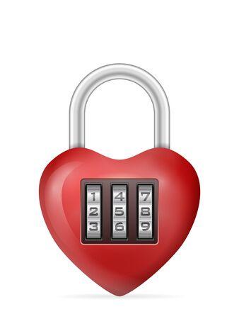 Padlock heart on a white background. Vector illustration. Illusztráció