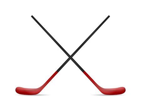Hockey sticks on a white background. Vector illustration.