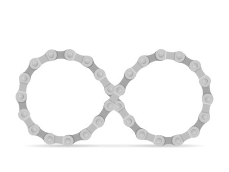 Infinity symbol formed by bike chain. Vector illustration.