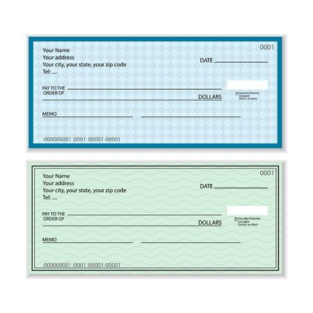 Assegno bancario impostato su uno sfondo bianco. Illustrazione vettoriale.