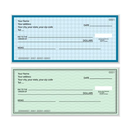 Bank check set on a white background. Vector illustration.