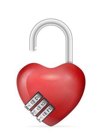 Padlock heart on a white background. Vector illustration. Ilustração