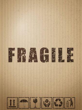 Fragile symbols on cardboard paper background. Vector illustration. Vettoriali