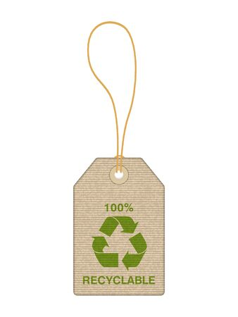 Price tag with recycle symbol on a white background. Иллюстрация