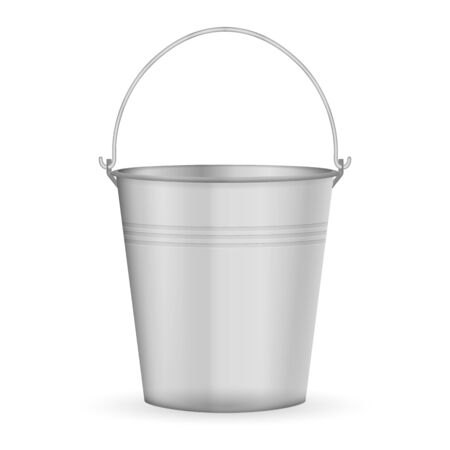 Metal bucket on a white background. Vector illustration.