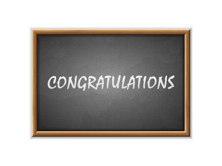 Congratulations written on a blackboard. Vector illustration.