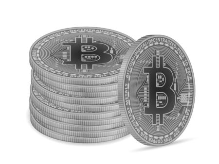 Bitcoin coins on a white background. Vector illustration. Ilustrace