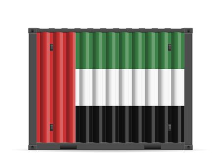 Cargo container UAE flag on a white background. Vector illustration.