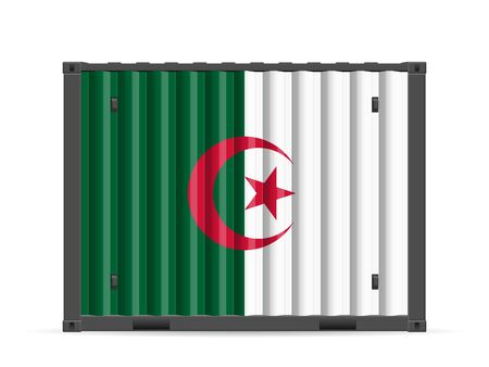 Cargo container Algeria flag on a white background. Vector illustration.