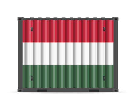 Cargo container Hungary flag on a white background. Vector illustration.