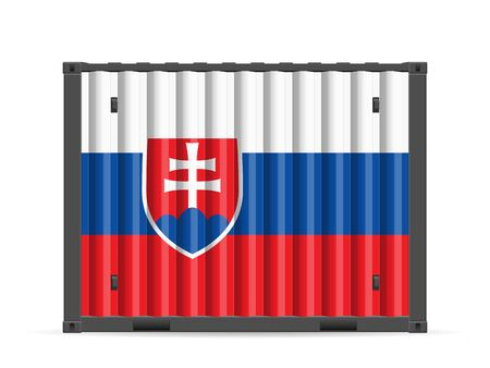 Cargo container Slovakia flag on a white background. Vector illustration.
