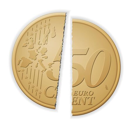 Broken fifty euro cent on a white background. Vector illustration.