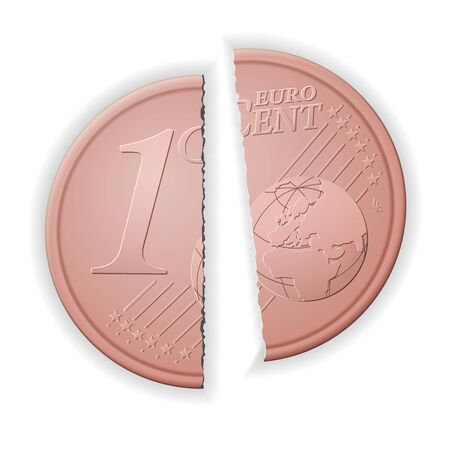 Broken one euro cent on a white background. Vector illustration.