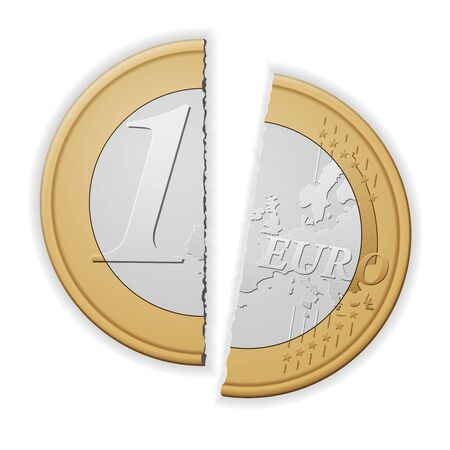 Broken one euro on a white background. Vector illustration.