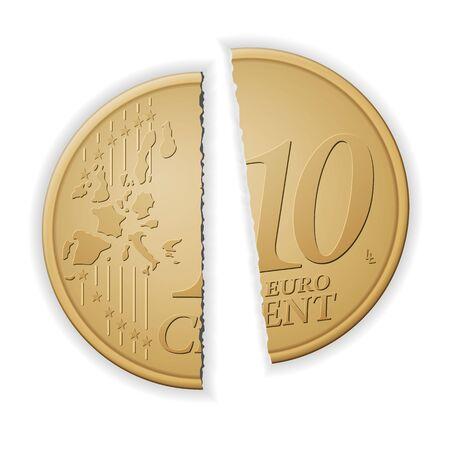 Broken ten euro cent on a white background. Vector illustration.