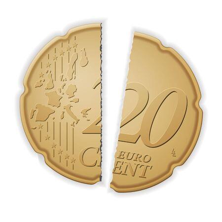 Broken twenty euro cent on a white background. Vector illustration.