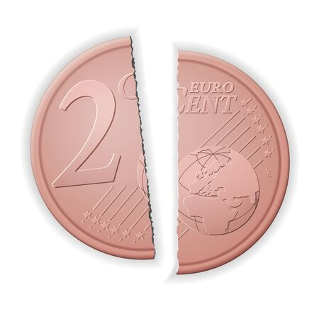 Broken two euro cent on a white background. Vector illustration. 向量圖像