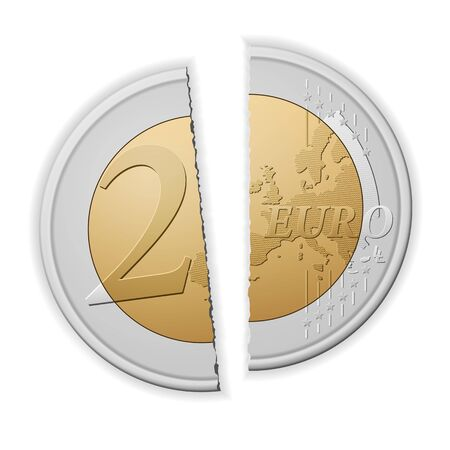Broken two euro on a white background. Vector illustration.