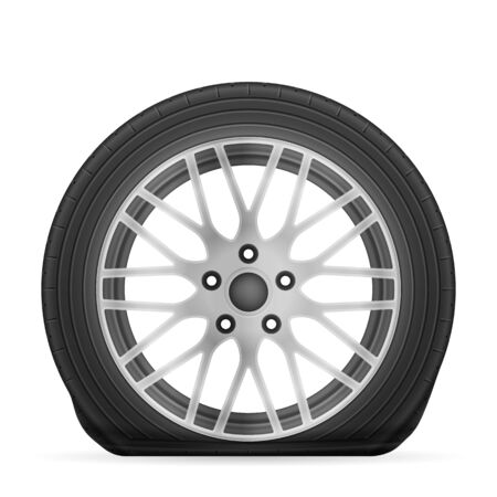 Flat tire on a white background. Vector illustration.