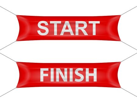 Start and finish banner on a white background.