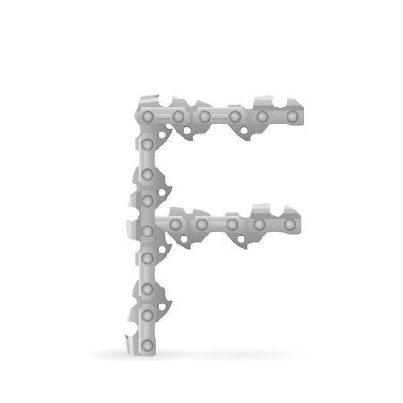 Chainsaw chain letter F on a white background. Vector illustration.