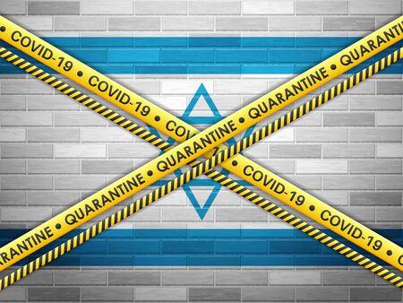 Israel in quarantine bricks wall background. Vector illustration. Illustration