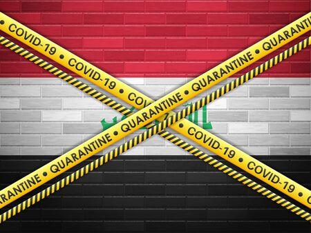 Iraq in quarantine bricks wall background. Vector illustration.
