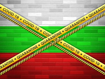 Bulgaria in quarantine bricks wall background. Vector illustration.