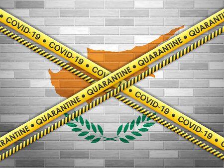 Cyprus in quarantine bricks wall background. Vector illustration.