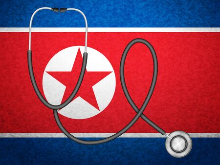 Stethoscope on North Korea flag background. Vector illustration.