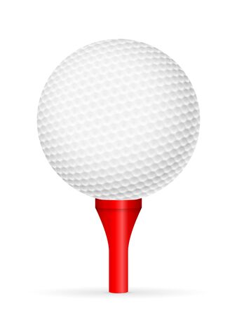 Golf ball on tee on a white background. Vector illustration. Vector Illustratie