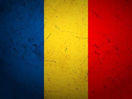 Grunge Romania flag textured background. Vector illustration.